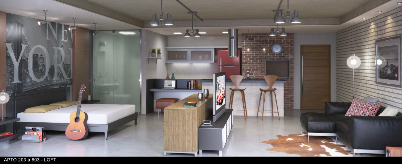 Loft 1 dormit rio no villa marbella bairro universit rio for Dormitorio universitario
